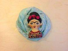 Hand painted textile brooch Frida  This brooch a mini-artwork painted freehand…