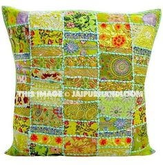 Green Decorative throw Pillow Cover Patchwork Throw Pillow Indian vintage Pillow Ethnic Pillow Cover Large Pillow for sofa couch Large Pillows, Sofa Pillows, Decorative Throw Pillows, Sofa Throw, Couch Sofa, Indian Pillows, Patchwork Cushion, Handmade Cushions, Vintage Embroidery