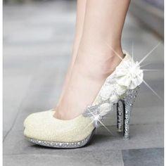 Women's Fashion Diamond Shoes Glitter Ankle Diamantes Flowers High Heel Platform Pumps Shoes Wedding Shoes $18.26