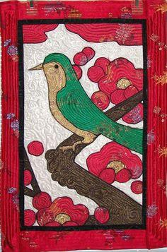 "Bird on a Limb. Korean Art ""Uguisu"": ""which sits on the branch of a plum tree"". via Etsy. Seoul, Korean Art, Korean Style, Bird Quilt, Comic Pictures, Quilted Wall Hangings, Art Plastique, Fiber Art, Tattoo Ideas"
