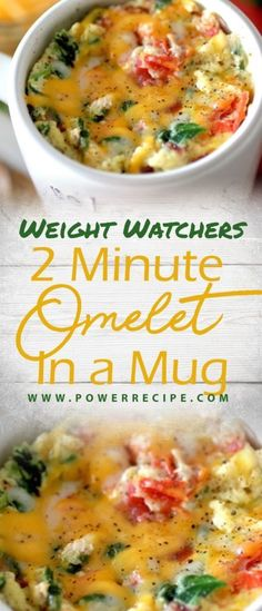 2 MINUTE OMELET IN A MUG come with 7 weight watchers smart points Recipes diet weight watchers omelet in a mug Breakfast Low Carb, Breakfast Dishes, Healthy Breakfast Recipes, Easy Healthy Recipes, Brunch Recipes, Easy Meals, Healthy Eating, Breakfast Ideas, Breakfast Omelette