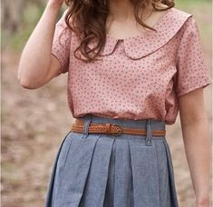 Collared blouse and denim skirt