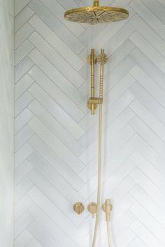 Chevron Bathroom, Chevron Tile, Gold Bathroom, Small Bathroom, Small Narrow Bathroom, White Bathroom Tiles, Master Bathroom, Bathroom Styling, Bathroom Interior Design