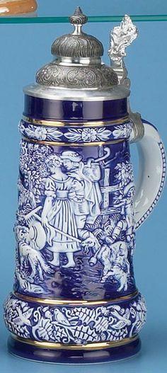 COBALT BLUE PORCELAIN STEIN - Authentic Beer Steins from Germany - 1001BeerSteins.com
