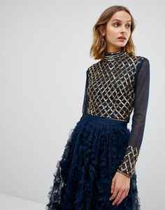 cd361c1ac2ee6d Lace   Beads embellished long sleeve crop top with mandarin collar in navy