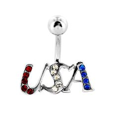 """Navel Belly Button Ring with Silver USA with Red, White, and Blue Gem - 14GA 3/8"""" Long; The piece is sold individually. Size: 14 Gauge. Color: Silver. Gender: Female. Age Group: Adult."""