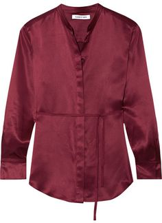Elizabeth and James - Wiley Silk-satin Shirt - Burgundy