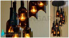 Diseño de lámpara con corte único en las botellas de vino. #Hangaro #Guatemala #CreacionChapina #Vidrio