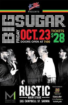 Win tix for Big Sugar tonight at Rustic!  Here is how. You MUST 'SHARE' 'LIKE' and make a 'COMMENT' on this post. Every 'SHARE' get's you a chance to win. The more 'SHARES' the more chances to win. The winner will be announced at 5pm! Get 'SHARING' and Good Luck!