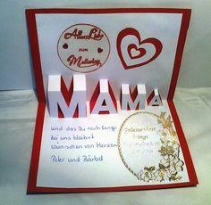 Da wir meine Schwiegermutter nur selten besuchen können bekommt sie zum Muttertag diese Karte von uns. und so von innen Ac...