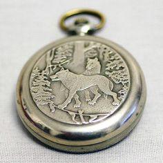 Vintage Mechanical Pocket Watch MOLNIJA  Wolf / by cherryshop, $69.00