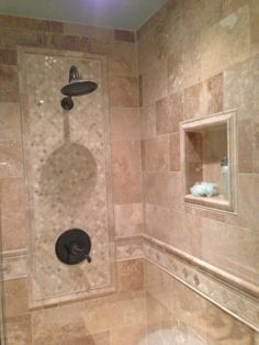 Tiled Bathrooms And Showers details: photo features castle rock 10 x 14 wall tile with glass