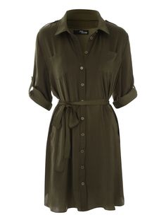 Channel major military vibes in the new utility shirt dress. Comes in a soft satin fabric with button down front, collar, roll sleeves, shoulder button detai...