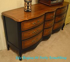 I love how warm and inviting these colors are without being loud. Lots of visual interest, but not demanding. Life Begins at Forty Something: Two Tone French Dresser Makeover - Another Chalk Paint Project Diy Dresser Makeover, Furniture Makeover, Diy Furniture, Dresser Makeovers, Two Tone Furniture, Upholstered Furniture, Furniture Design, Chalk Paint Projects, Chalk Paint Furniture