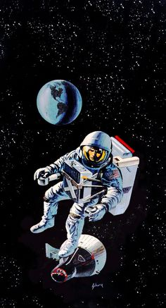 70s Sci-Fi Art based in reality. This looks like concept art for this > https://en.wikipedia.org/wiki/Manned_Orbiting_Laboratory#/media/File:USAF_Astronaut_Maneuvering_Unit.jpg  The MOL Program Maneuvering Unit, behind the Astronaut is the Gemini capsule. Gemini B was to be the MOL Capsule.