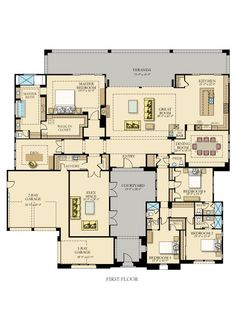 courtyard - another awful layout where the hallway leads directly into a childs bedroom. Not bad otherwise. Family House Plans, New House Plans, Dream House Plans, House Floor Plans, My Dream Home, Courtyard House Plans, Chula, House Layouts, Florida Home