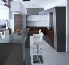 cocina con barra estilo minimalista
