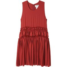 Charles Anastase Ruffle Dress (11 285 UAH) ❤ liked on Polyvore featuring dresses, vestidos, tiered dress, ruched cocktail dress, flounce dress, ruffle hem dress and red dress