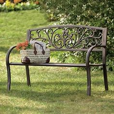 Amazon.com: Furniture Bench Garden Benches Metal Iron Porch Park Patio Seating Area Cheap Lawn For Outdoors Rustic Outside For Sale Picnic Outside: Kitchen & Dining