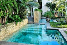Modern architecture pool design - Craig Reynolds landscape architect - Olivia Street garden - exterior view - tropical garden