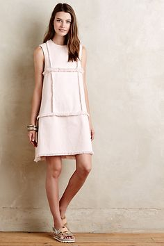 Fringed Denim Shift Dress #anthropologie