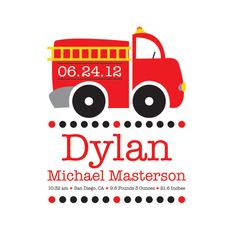Fire Truck, Wall art baby name, Fireman, Nursery Decor, Birth Announcement Print, Kids Wall Art, Nursery Wall Art on Etsy, $12.00