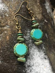 Boho Earrings Hippie Earrings Turquoise by BeachBohoJewelry