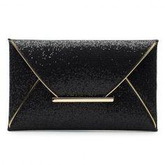 Graceful Sequined and Metallic Design Women's Evening Bag