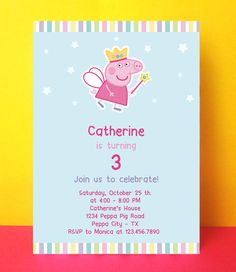INSTANT DOWNLOAD - Peppa Pig Invitation Card - Editable Pdf - Diy Printable - Digital File - Peppa Pig Birthday Party M02