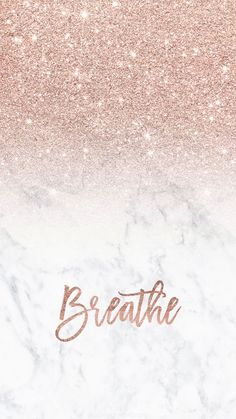Rose gold glitter ombre white marble breathe typography Iphone #wallpaper background by audrey chenal #glitter #rosegold #marble #breathe #quote