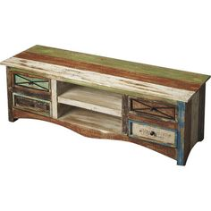 A rustic addition to your living room or den, this essential media console features a multicolored finish and 4 drawers for ample storage space. ...