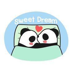 Have a sweet dream. Panda Funny, Cartoon Panda, Cute Cartoon Animals, Baby Animals, Cute Animals, Chibi Cat, Cute Chibi, Panda Bebe, Have A Sweet Dream