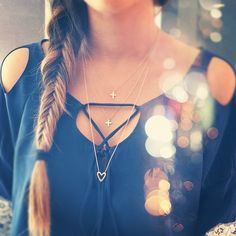 shirt & necklace & hair