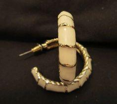 Vintage Hoop Earrings Cream Lucite Gold Tone Pierced  #jewelry #earrings #retro #vintage #Hoop