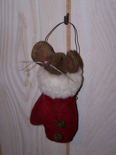 Primitive Christmas Ornaments | Wool Mouse Mitten Primitive Christmas Ornament OOAK Darlas Closet