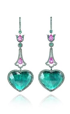 Chopard - Heart-shaped emerald drop earrings