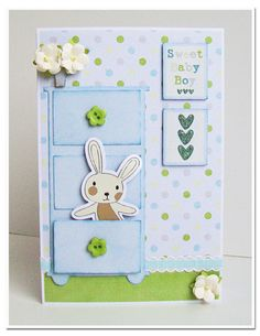 bunny in drawer baby card Baby Boy Cards, New Baby Cards, Baby Shower Cards, Scrapbook Cards, Scrapbooking Layouts, Ideas Prácticas, Shower Bebe, Card Tags, Kids Cards