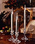 Replace your candles with glass oil lamps. No more waxy residue or searching for candles before the dinner party.