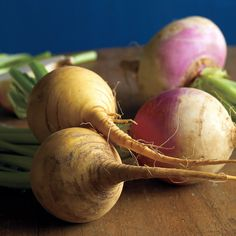 In Season: The peak season for turnips and rutabagas begins in October and lasts through the winter. These root vegetables are available year-round in many markets.What to Look For: In the garden, grocery store, or farmers' market, choose firm, unwrinkled vegetables with root and stem ends intact. Avoid those with soft spots.How to Store: When you get your selections home, cut any green tops down; wrap the vegetables in and airtight bag and store them in the coldest part of the…