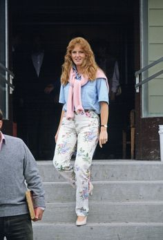 Sarah Ferguson wearing pants previously worn by Princess Diana.