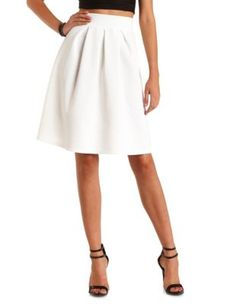 Pleated High-Waisted Full Midi Skirt