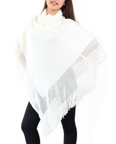 Nishaer Women's Clothing Knitted Hollow Out Tassel Trim Poncho Sweater White at Amazon Women's Clothing store: