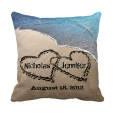 Two Hearts In The Sand Wedding Pillow http://www.branddot.com/14/two_hearts_in_the_sand_wedding_pillow-189762242270412822