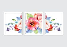 Watercolor Fresh Flowers Art Print Set - perfect addition to your decor! Frames not included.  / DETAILS Prints are printed on high end printers with top quality archival inks and heavyweight matte fine art papers allowing each print to have a professional quality and superior longevity. The quality is stunning and the prints are made to last.  ★ If you would like a different size please send a convo and I will quote you a price.  PLEASE NOTE: Keep in mind that every monitor is different...