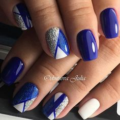 20 - 2019 - 2020 Blue and Light Blue most beautiful nail designs with different designs - 1 period blue and light blue nail designs. Light Blue Nail Designs, Royal Blue Nails Designs, Colorful Nail Designs, Gel Nail Designs, Beautiful Nail Designs, Blue Nails With Design, Blue And Silver Nails, Blue Gel Nails, Cute Acrylic Nails