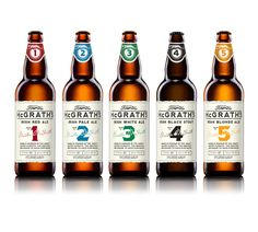 """McGrath's - """"McGrath's is Craft Brewed in Ireland by Clanconnel Brewing Co. Drinksology was commissioned to reinvent their brand and packaging. Named in honour the local hero The 'Mighty' Master Mcgrath, the greatest greyhound to have ever raced, the recipe numbers & label colours reflect the numbers and colours of greyhound racing jackets."""""""