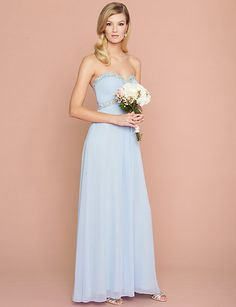Iridescent jewels trim this chiffon sweetheart gown for a whimsical effect. #bridesmaids #lewedding