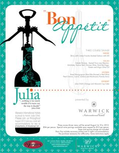 Margaux at the Warwick Hotel in Seattle is honoring Julia Child's 100th birthday with a special 3-course dinner.  Join them throughout August 2012 for a chance to win accommodations for two to Paris, France!