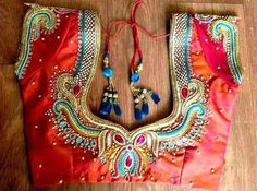Maggam Work with Beads on Blouse 1