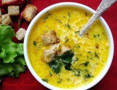 Сливочный суп с ветчиной и сухариками.  плавленный сыр,картофель, макароны, сливки, лук, морковь, ветчина
